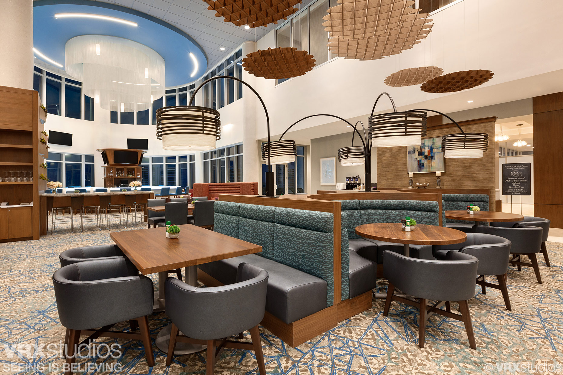Houston Texas Architectural Photographer - Spacious dining area of the Bridges Restaurant located inside the Embassy Suites Hotel Sarasota FL