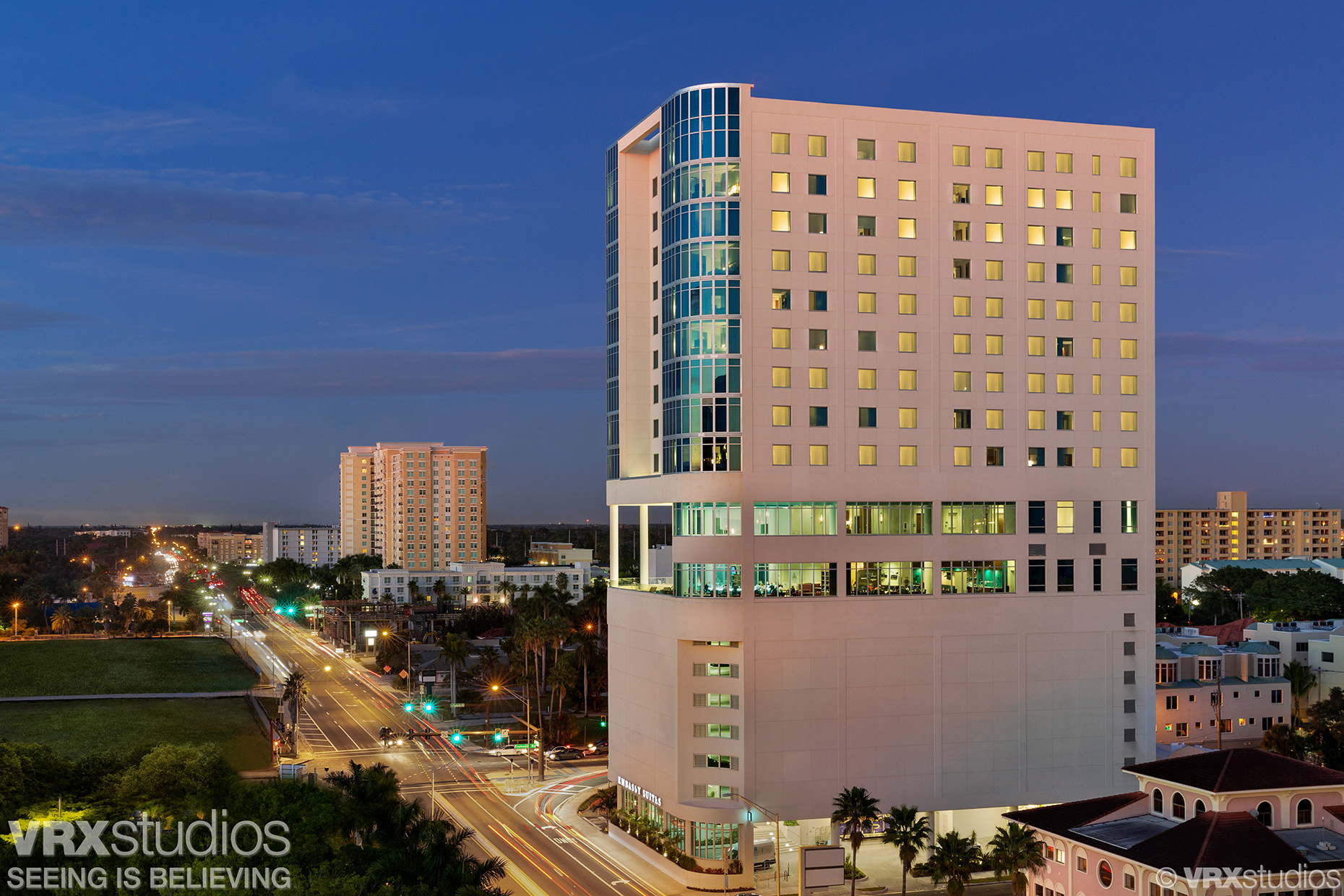 Austin Texas Architectural Photographer  - Elevated twilight view of the Embassy Suites by Hilton located in Sarasota, FL