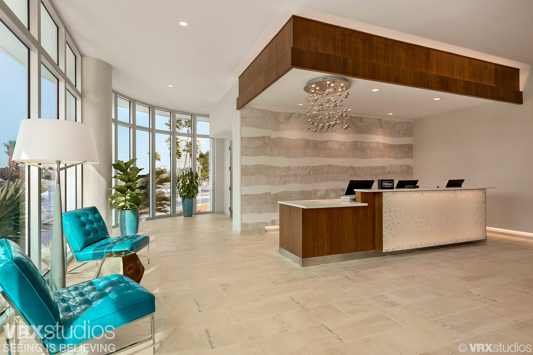 The lobby of the Embassy Suites Sarasota hotel - Tom DiMatteo, Hotel and Architectural Photographer based in Austin, TX.