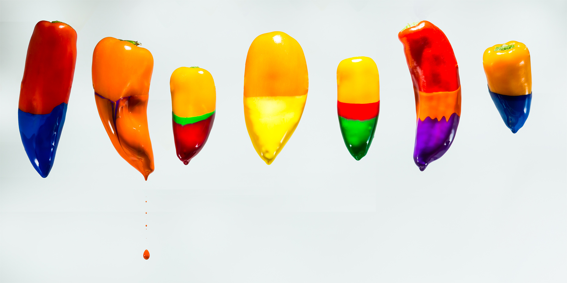 Peppers and dripping paint